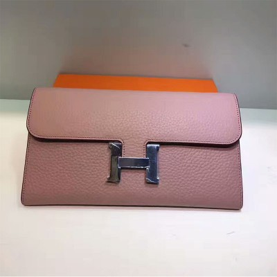 Hermes Constance Wallet Togo Leather Palladium Hardware In Cherry