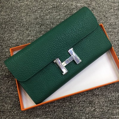 Hermes Constance Wallet Togo Leather Palladium Hardware In Dark Green