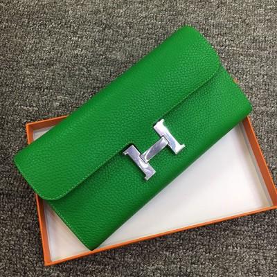 Hermes Constance Wallet Togo Leather Palladium Hardware In Green