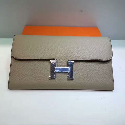 Hermes Constance Wallet Togo Leather Palladium Hardware In Grey
