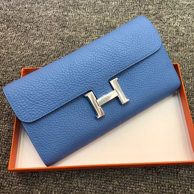 Hermes Constance Wallet Togo Leather Palladium Hardware In Light Blue