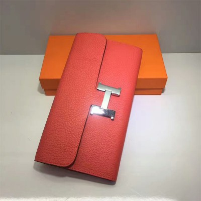 Hermes Constance Wallet Togo Leather Palladium Hardware In Red