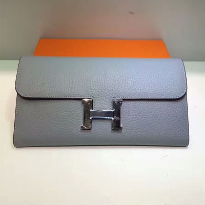Hermes Constance Wallet Togo Leather Palladium Hardware In Sky Blue