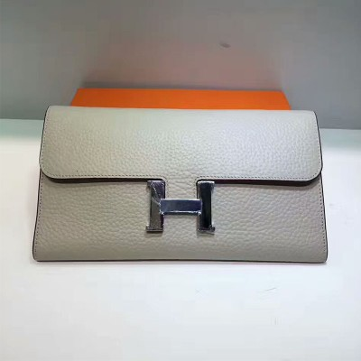 Hermes Constance Wallet Togo Leather Palladium Hardware In White