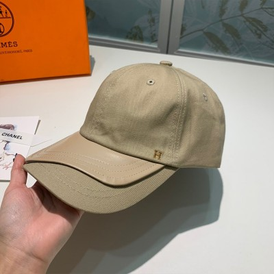 Hermes H Cotton/Leather Baseball Cap Khaki