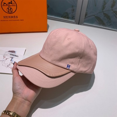 Hermes H Cotton/Leather Baseball Cap Pink
