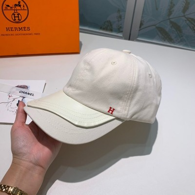 Hermes H Cotton/Leather Baseball Cap White