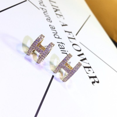 Hermes Crystal H Earrings Gold
