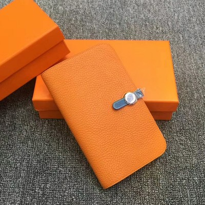 Hermes Dogon Card Holder Color Blocking Togo Leather Palladium Hardware In Orange/Blue