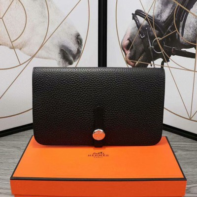 Hermes Dogon Card Holder Togo Leather Palladium Hardware In Black