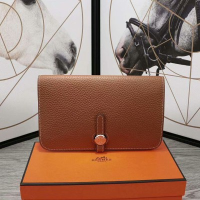 Hermes Dogon Card Holder Togo Leather Palladium Hardware In Brown