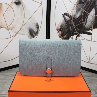 Hermes Dogon Card Holder Togo Leather Palladium Hardware In Sky Blue
