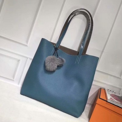 Hermes Double Sens Bag Clemence Leather In Blue
