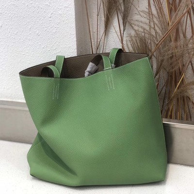 Hermes Double Sens Bag Clemence Leather In Green
