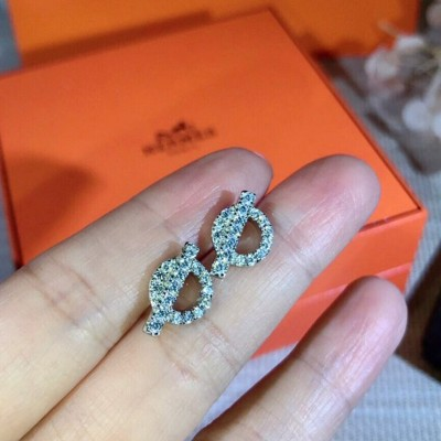 Hermes Echappee Earrings With Crystal Silver