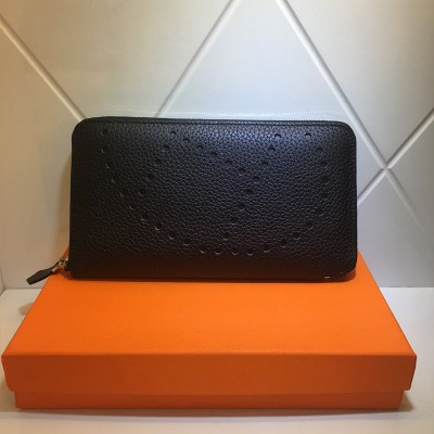 Hermes Evelyne Wallet Togo Leather Palladium Hardware In Black