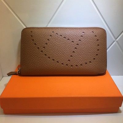 Hermes Evelyne Wallet Togo Leather Palladium Hardware In Brown