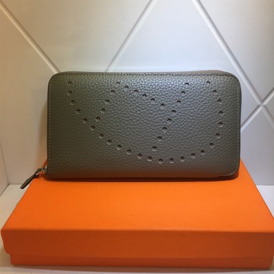 Hermes Evelyne Wallet Togo Leather Palladium Hardware In Grey