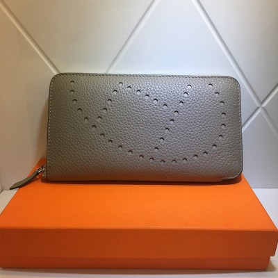 Hermes Evelyne Wallet Togo Leather Palladium Hardware In Light Grey
