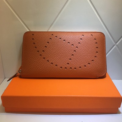Hermes Evelyne Wallet Togo Leather Palladium Hardware In Orange