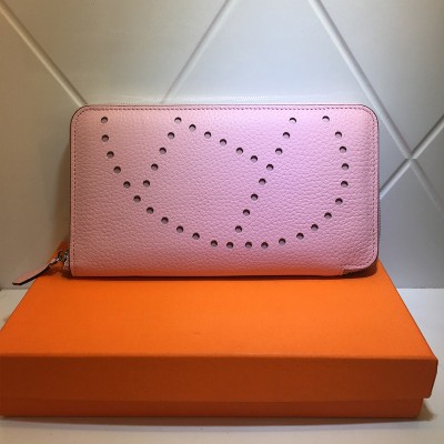 Hermes Evelyne Wallet Togo Leather Palladium Hardware In Pink