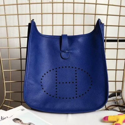 Hermes Evelyne Bag Clemence Leather Palladium Hardware In Blue