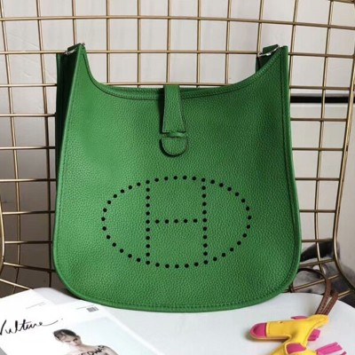 Hermes Evelyne Bag Clemence Leather Palladium Hardware In Green