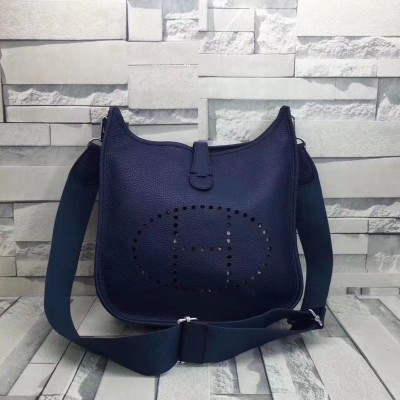 Hermes Evelyne Bag Clemence Leather Palladium Hardware In Navy Blue