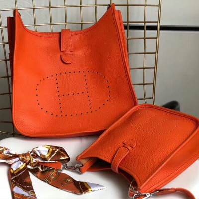 Hermes Evelyne Bag Clemence Leather Palladium Hardware In Orange