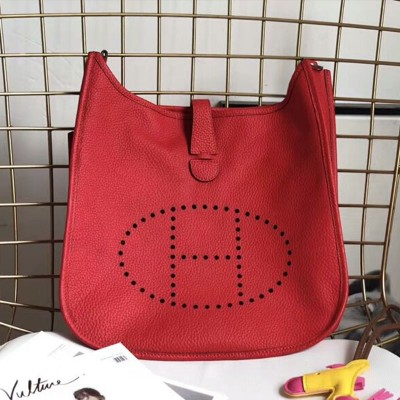Hermes Evelyne Bag Clemence Leather Palladium Hardware In Red
