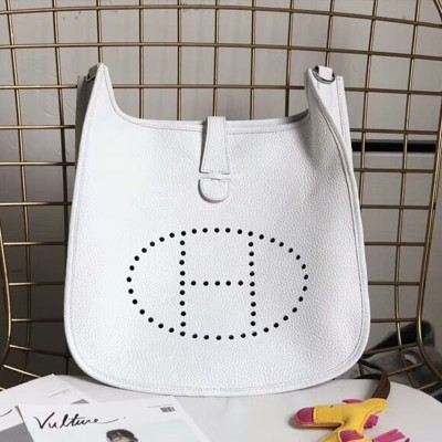 Hermes Evelyne Bag Clemence Leather Palladium Hardware In White