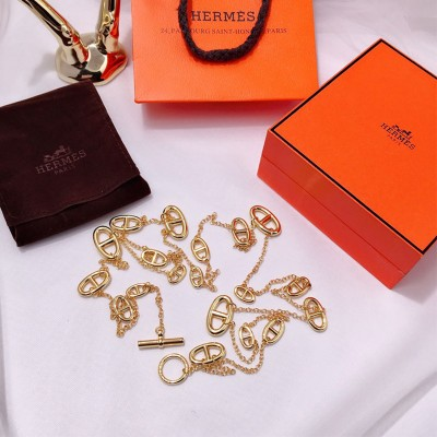 Hermes Farandole Long Necklace In Gold