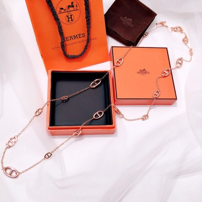 Hermes Farandole Long Necklace In Rose