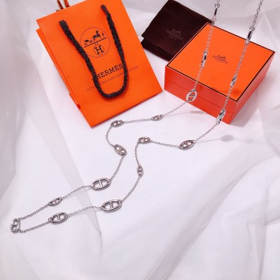 Hermes Farandole Long Necklace In Silver