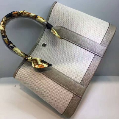 Hermes Garden Party Bag Canvas In Grey