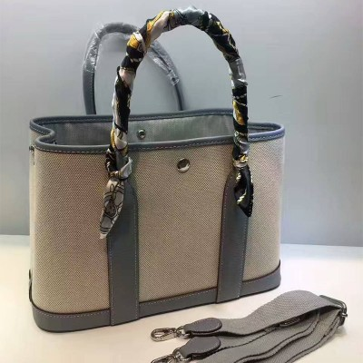 Hermes Garden Party Bag Canvas In Sky Blue