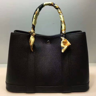 Hermes Garden Party Bag Togo Leather In Black