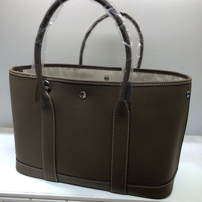 Hermes Garden Party Bag Togo Leather In Coffee