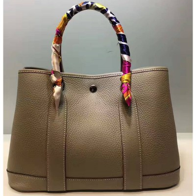 Hermes Garden Party Bag Togo Leather In Grey