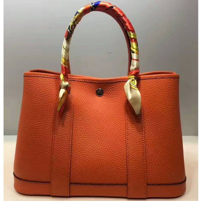 Hermes Garden Party Bag Togo Leather In Orange