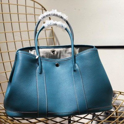 Hermes Garden Party Bag Togo Leather In Peacock Blue