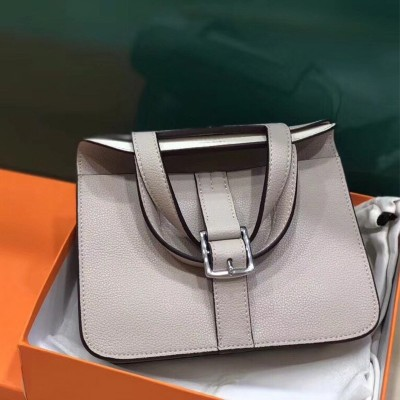 Hermes Halzan Bag Palladium Hardware Clemence Leather In Apricot
