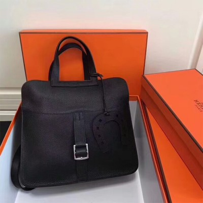 Hermes Halzan Bag Palladium Hardware Clemence Leather In Black