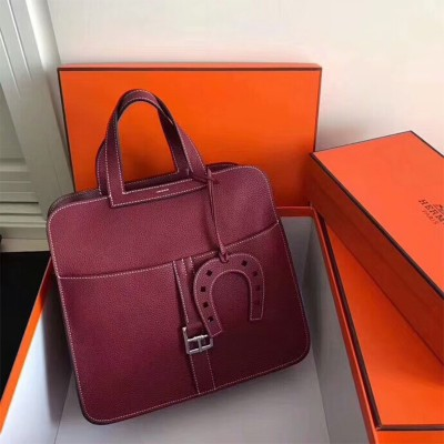 Hermes Halzan Bag Palladium Hardware Clemence Leather In Burgundy