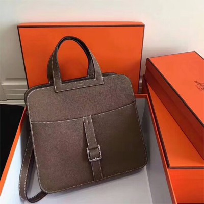 Hermes Halzan Bag Palladium Hardware Clemence Leather In Coffee