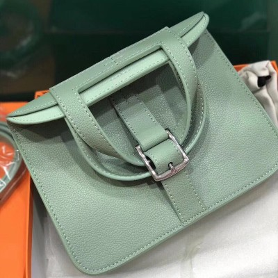 Hermes Halzan Bag Palladium Hardware Clemence Leather In Mint Green