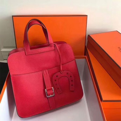 Hermes Halzan Bag Palladium Hardware Clemence Leather In Red