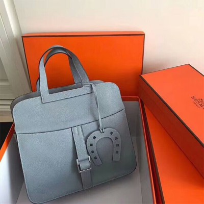 Hermes Halzan Bag Palladium Hardware Clemence Leather In Sky Blue