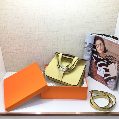 Hermes Halzan Bag Palladium Hardware Clemence Leather In Yellow