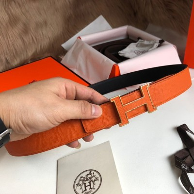 Hermes H Enamel Buckle 32MM Reversible Belt Epsom Leather In Orange